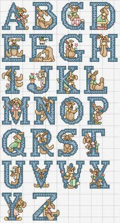 Schema Punto Croce Alfabeto Coniglietto Blu