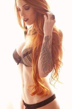 girl tattoos, hair colors, arm tattoos, ginger, red hair, redhead, redhair, tattoo ink, wing tattoos