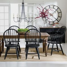 Love black windsor chairs with rustic table!!