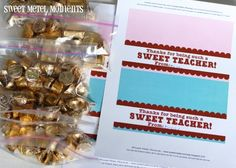 "Sweet Metel Moments: Free Printable - Teacher Appreciation Gift - ""Sweet Teacher"""
