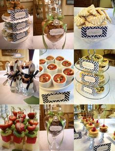 Mini Bites of Food for Baby Shower Brunch! Especially love the yogurt parfait shooters and mini doughnuts and muffins. tabl detail, foods, food tables, mini food, mini bite, baby shower brunch, babi shower, parti, baby showers