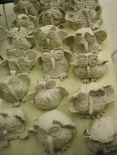 clays, stick, kid ceramics, clay owl, clay with kids, kids pottery projects, pinch pots, owls, kids clay projects