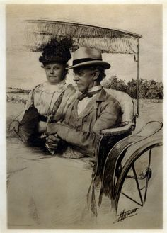 Gustav Cramer and Mrs. Cramer in carriage. Photo by J.C. Straus. Gustave Cramer was born in Germany in 1838, and came to St. Louis in 1859. He was a pioneer in the manufacture of photographic dry plates, and founder of G. Cramer Dry Plate Company, St. Louis, 1882. A philanthropist, he was founder of the St. Louis Altenheim, a home for the aged. He passed away in 1914 and is buried at Bellefontaine Cemetary in St. Louis. Missouri History Museum