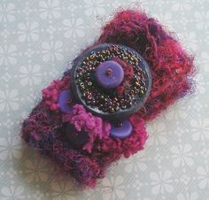 Crocheted Recycled Sari Silk Cuff Bracelet
