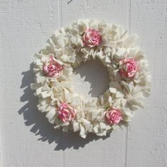 Pink Roses Rag Wreath Ivory Fleece Fabric by RagWreathBoutique pink roses, chic wreath, rag wreaths, cozi rose, rose cottag