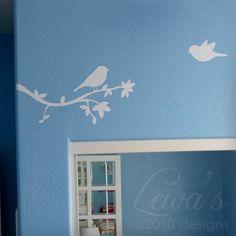 Birds and Tree Branch Wall Decal - Vinyl Wall Art Sticker