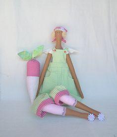 Fabric Doll Garden Angel  Art Decorative Rag Doll green pink cloth with radish Blonde  Handmade cute doll Nursery Home decor, gift for girl Tilda Bebek, Tilda Angelo, Tilda Dolls, Tilda Accessories, Tilda Creations, Bonecas Labels, Dolls Tilda