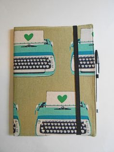 Journal Cover / Notebook Cover / Fabric Journal Cover--- Typewriter *