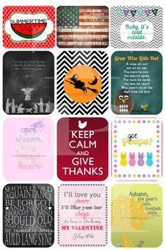 This website has tons of FREE printables!  A printable for every month of the year!!!!  Layer them behind each other in one frame and you have seasonal decor in seconds!!! www.thepinningmama.com