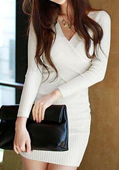 Long Sleeves Knit Dress - White @LookBookStore