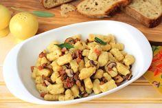Homemade Gnocchi with Pancetta, Mushrooms, and Sage #gnocchi #Italianfood