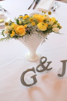 floral centerpieces, yellow weddings, initials, milk glass, wedding colors, yellow roses, wedding centerpieces, make flowers, wedding color palettes