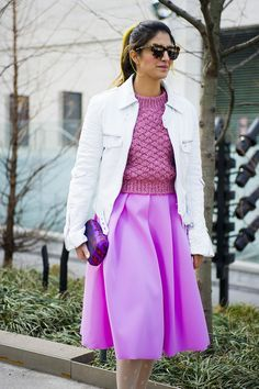 This pink A-line skirt makes style dreams come true. skirt, color, pink outfits