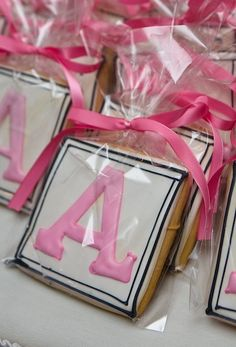 The monogram on cookies for favors