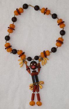1920's Josephine Baker Bakelite Art Deco Pendant Necklace