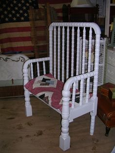 Lots of ideas for making garden benches out of old cribs and beds. garden-whimsy