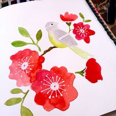 bird and flowers watercolor