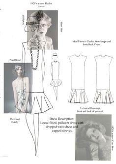 Fashion Sketchbook - 1920's fashion design research & dress sketches; fashion student portfolio // Charmain Billing