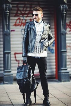 inspiration: switch up an all black look with a distressed or textured sweater
