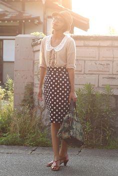 the dot, polka dots, peter pan collars, outfit, pencil skirts, dot skirt