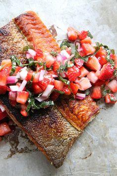 Crispy Salmon with Strawberry Basil Salsa