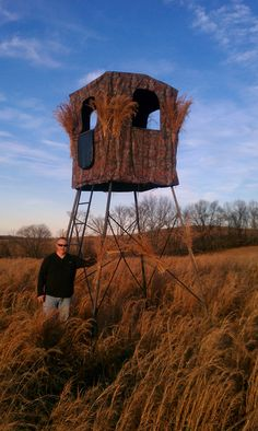 Hunting huts on pinterest deer blinds deer stands and for Hunting hut plans