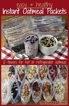 DIY Healthy Instant Oatmeal Packets. Lots of good flavor combinations.