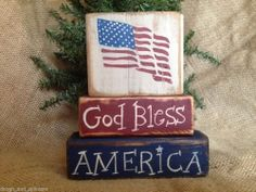 Primitive Americana Patriotic US Flag God Bless America Shelf Sitter Wood Blocks #NaivePrimitive