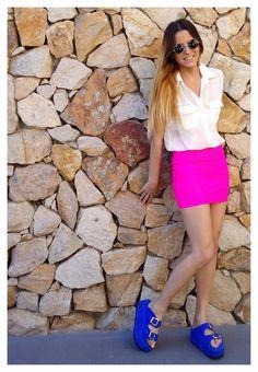 ♥ LOOK OF THE DAY 17-09-2012 ♥  ♥ Camisa Creppe Crudo  ♥ Mini Lycra Fucsia  ♥ Saona Shocking Blue