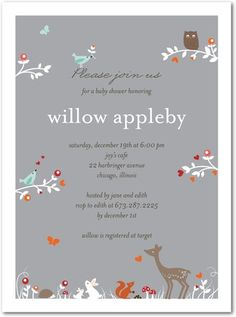 Baby Shower Invitations Woodland Wonder - Front : Smoke - would love to replicate the feeling of the invitation for B's room!