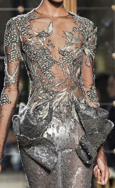 kurkova:  Silver Metallic Dress by Marchesa Couture