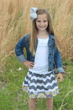 Girls Grey Chevron Skirt with Yellow Floral Border by LibbyDianne, $20.00