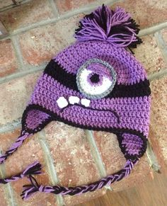 Kids Crochet Evil/Purple Minion Hat/Beanie