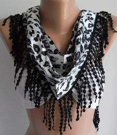Elegance  Shawl / Scarf with Lacy Edge    leopard by womann,