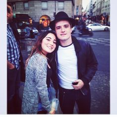 Josh in Paris with a fan... Mockingjay is coming!!
