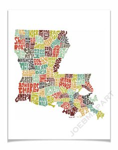 Louisiana - Typography Map Art Print - color version of my hand drawn map art wall decor - FREE SHIPPING