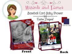 Baby Shower Baseball Thank You Card..Baseball Card...Custom Designed