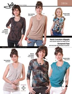 JALIE 2806 SCOOPNECK TOPS WITH RUCHING OR GATHERED FOLDOVER