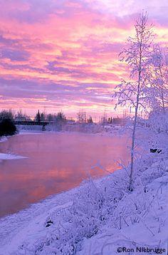 Winter sunset in Fairbanks, Alaska.