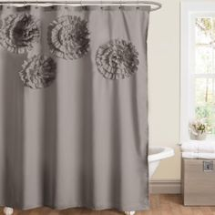 Lush Decor Flower Glamour Grey Shower Curtain | Overstock.com Shopping - The Best Deals on Shower Curtains