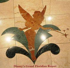 Tinker Bell - marble floor inlay in Disney's Grand Floridian Resort lobby. #TinkerBell #GrandFloridian #Disneyworld #WDW