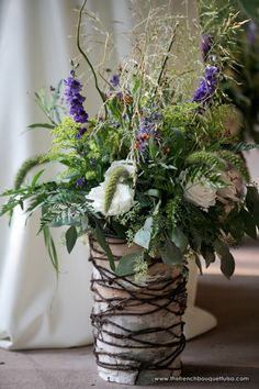 Twine and Birch Bark Vase for Large Rustic Floral Arrangement