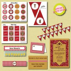 Western Party Printables - full collection from snowconeslollipops.etsy.com $25.00