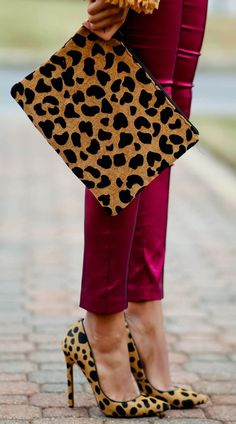 Red skinnies, check. Leopard accessories, check. Perfect outfit, check! leopard shoes, cheetah print, accessori, clutch, animal prints, winter fashion, leopard print purses, fashion women, leopard prints