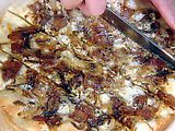 caramelized onion and bacon pizza. Pinner's TnT
