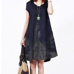 Women's Plus Sizes Casual Print Short Sleeve Loose Dress – USD $ 26.99