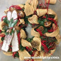 simply seasonal burlap decor, christmas decorations, crafts, seasonal holiday d cor, wreaths, Burlap wreath