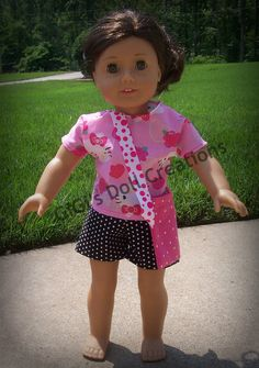 Hello Kitty Short outfit for 18 inch by GiGisDollCreations on Etsy, $14.00 hello kitti, doll cloth, girl doll, short outfits, ag outfit, american girl, american doll, mackenzi board, hello kitty