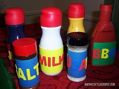MAD IN CRAFTS: Play Food out of Recyclables. My two year old would love these because they look like the real ones that mommy uses! plastic bottl, food containers, plastic play food, one year old crafts