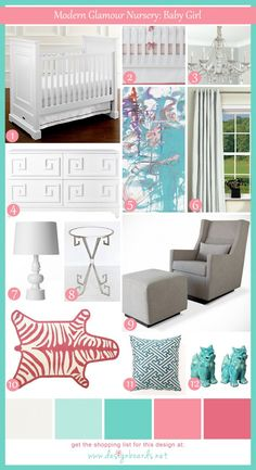 Modern Glamour Nursery: Baby Girl | Design Boards